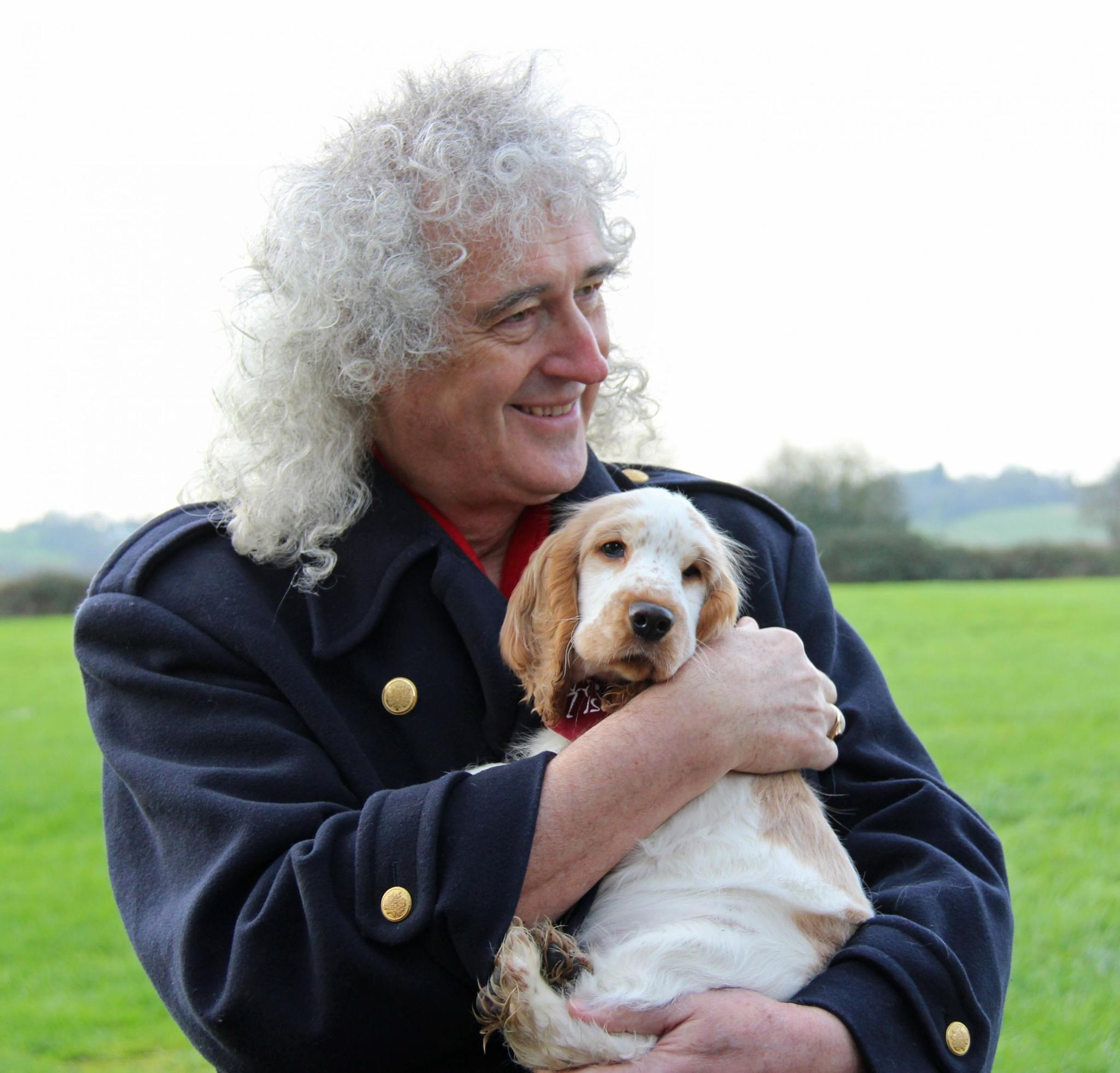 Brian May and Ralph, the 10-week-old Cocker Spaniel puppy